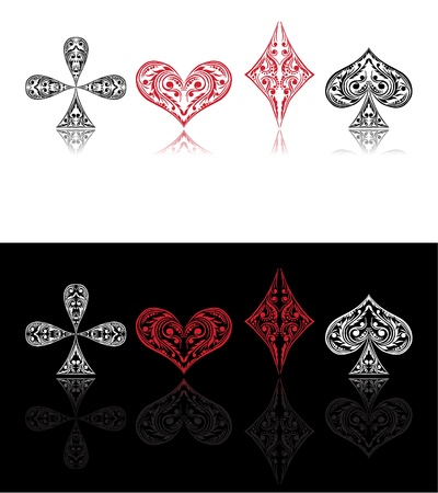 aces:  card symbols red and black with shade
