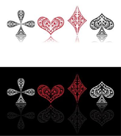 wagers:  tarjeta s�mbolos rojo y negro con sombra