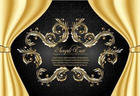 gold leafs: antique frame for Greetings Card
