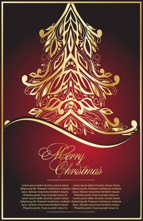 background with gold  Xmas tree  Vector