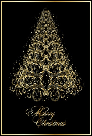 background with stylized xmas tree Vector