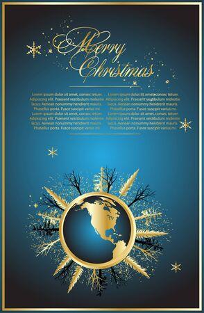 snoflake: Blue christmas background