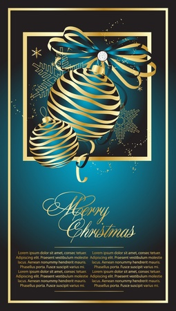 Blue Christmas postcard illustration Stock Vector - 10454018