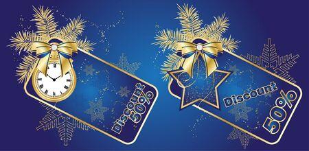 Blue Discount card templates, vector Vector