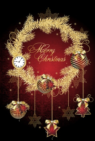 Christmas background with decoration for your design in red Imagens - 10454364