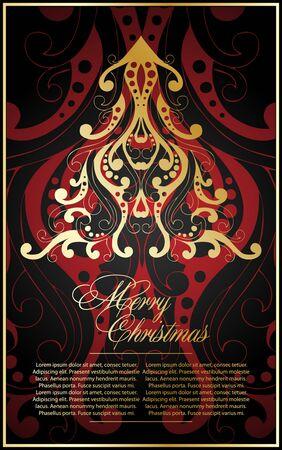 bstract: christmas tree. greeting card.