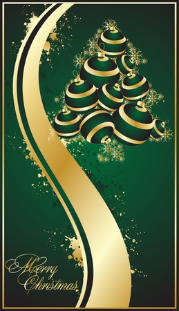 decorative green christmas background Stock Vector - 10454045