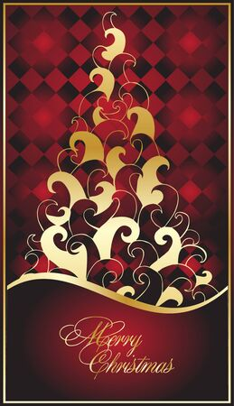 celebration eve: ornate  illustration with abstract tree