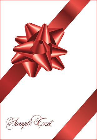 Red bow on a red ribbon with white background - vector Christmas card Illustration