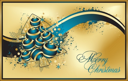 Vector Christmas & New Years greeting card with a blue ribbon Vector
