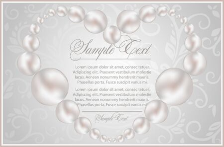 background with realistic pearls Stock Vector - 10464472