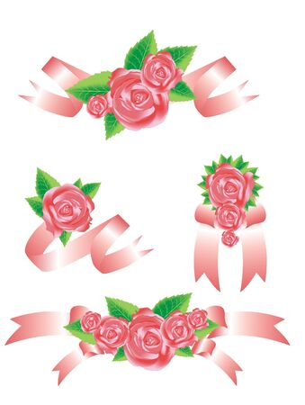 simple meal: Collection of vector rose with  ribbons