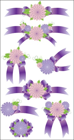 simple meal: Collection of violet bows Illustration