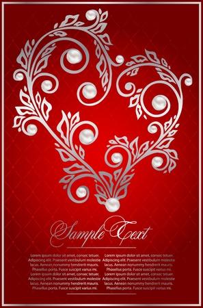 filigree frame: floral card with pearls Illustration