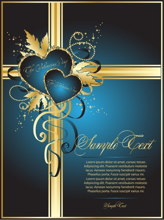 blue romantic valentine card Stock Vector - 10495555