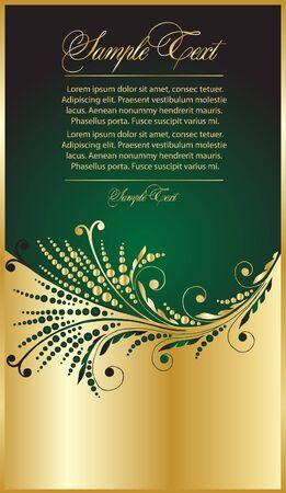 gold swirls:  green elegance background