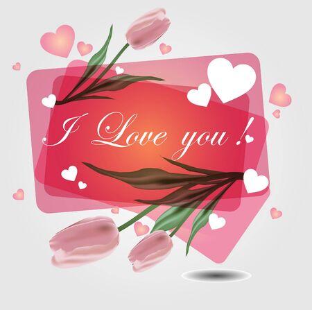 achtergrond met harten en Tulip