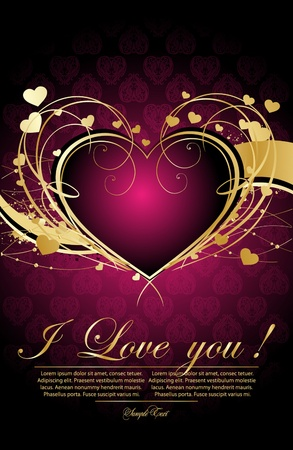 gold heart: decorative valentine simple illustration