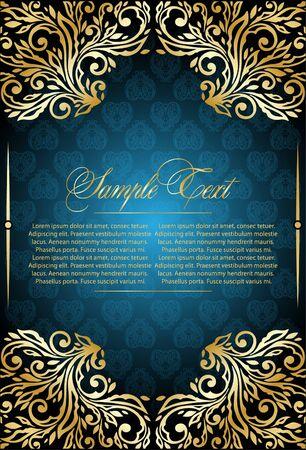 grecas: elegancia floral fondo azul Vectores