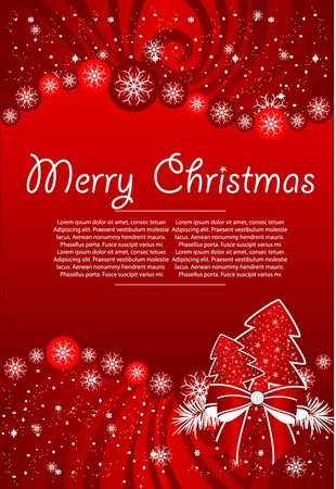 red  backgraund with xmas tree Vector