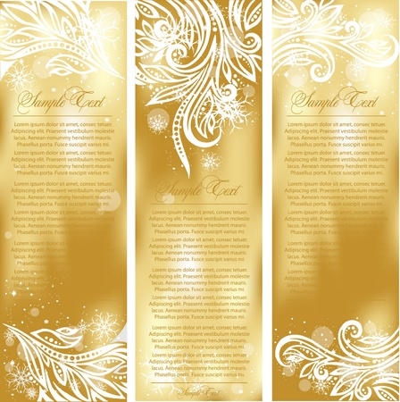 holly leaves: set of gold xmas cards