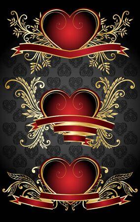 Set with Valentines design elements Vector