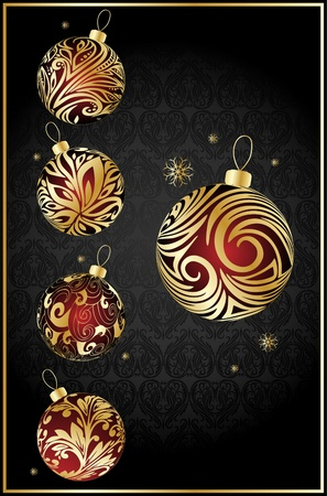 year curve: vector different christmas balls Illustration