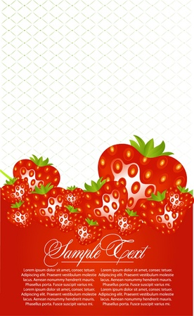 layout strawberry: abstract card with strawberry fruits