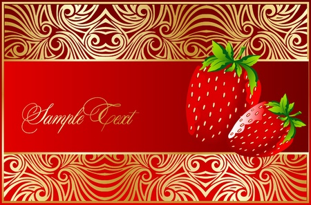 background with strawberry fruits Vector