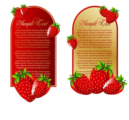 Vector set of background with strawberry fruits Vector