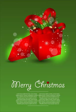 Christmas vector illustration with Ornate Gift Box Vector