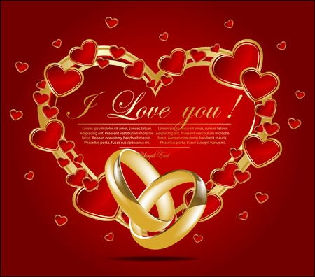 Abstract card with glossy red hearts. Vector