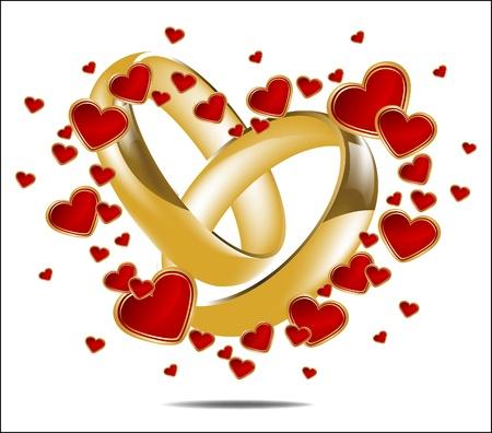Illustration avec des anneaux de mariage et de coeur rouge Vecteurs
