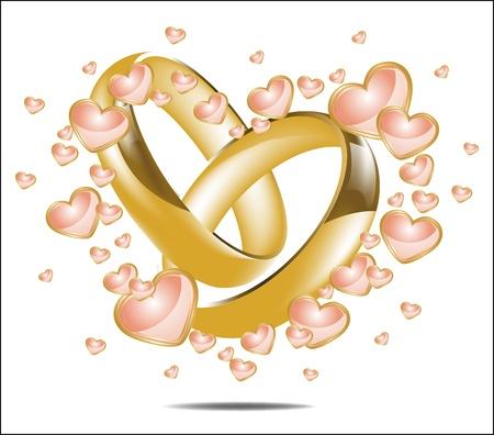 結婚指輪と心の図 写真素材 - 12380364