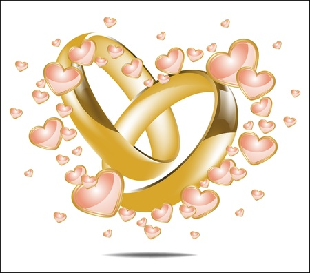 Illustration with wedding rings and Hearts Ilustração
