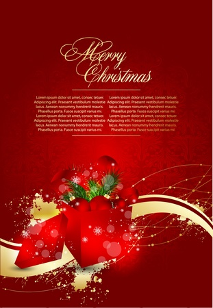 Art background with Christmas box Vector