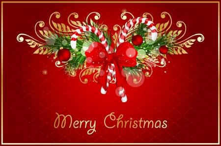 キャンディの杖とクリスマス イラスト装飾弓