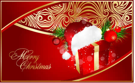 xmas illustration with red gift Vector