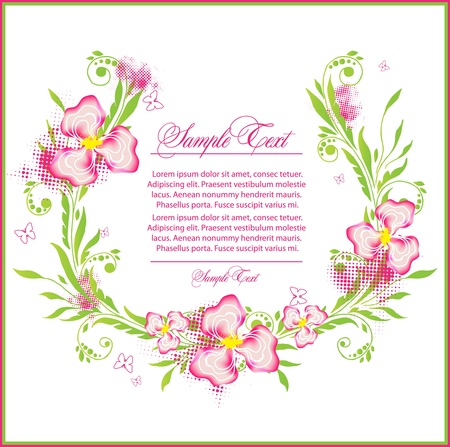 flower border pink: beauty branch with flower  Illustration