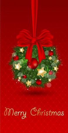 fake christmas tree: Christmas bells with ribbon on red background