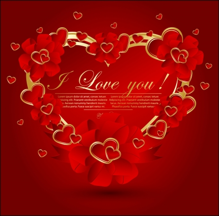 image date: Abstract congratulation card with glossy red hearts.