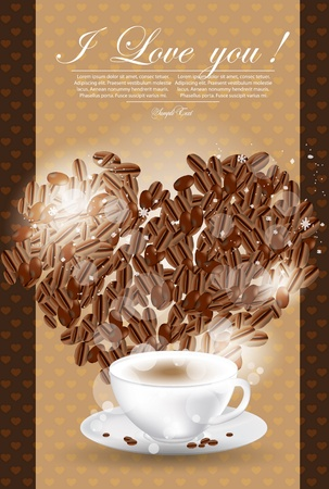 Abstract  illustration of coffee-cup and heart Vector