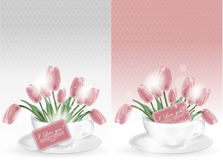 Abstract illustration of coffee-cup with lulips Vector