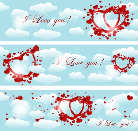 hearts and clouds Stock Vector - 16582934