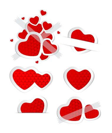 labels and stickers heart shape Vector