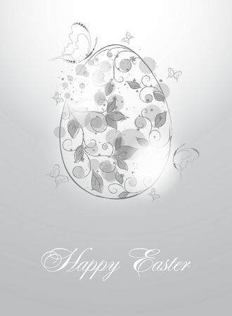 easter egg with floral  elements Vector