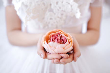 handcare: flower in the hands of the bride Stock Photo