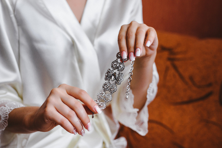 arm bouquet: Beautiful wedding decoration, in the hands of the bride