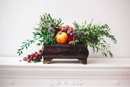 floral arrangements: Bouquet of flowers in old wooden rustic box.