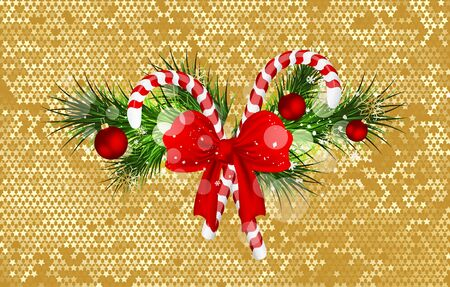 Christmas background with fir branches and candy cane decorated bow. Vector illustration.